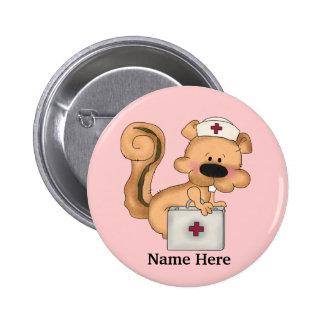 Krankenschwester-Eichhörnchenknopf Runder Button 5,7 Cm