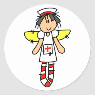 Krankenschwester-Engel Runder Aufkleber