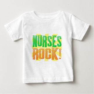 Krankenschwester-Felsen-, Orange und Grünerspaß Baby T-shirt