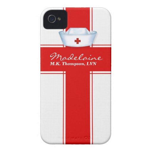 Krankenschwester-Hut in der roten und weißen iPhone 4 Case-Mate Hülle