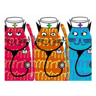 Krankenschwester-Katzen Postkarte