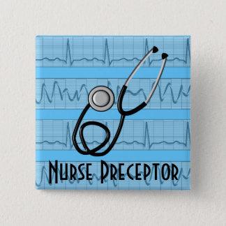 Krankenschwester-Lehrer knöpft schwarzes Quadratischer Button 5,1 Cm