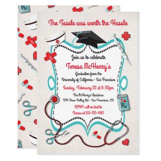Krankenschwester-medizinische Abschluss-Einladung Karte