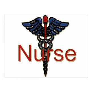 Krankenschwester mit Caduceus Postkarte