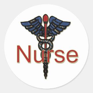 Krankenschwester mit Caduceus Runder Aufkleber