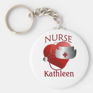 Krankenschwester-Namen-Krankenschwester-Herz-Knopf Schlüsselanhänger