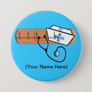 Krankenschwester-NamensAbzeichen (addieren Sie Runder Button 7,6 Cm