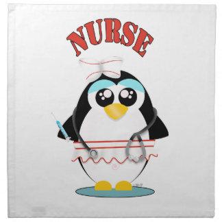 Krankenschwester-Pinguin-Frau Stoffserviette