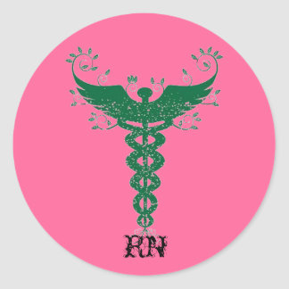 Krankenschwester-Rosa Runder Aufkleber