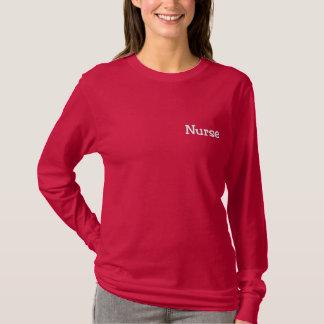Krankenschwester-Rot gesticktes Shirt