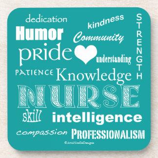Krankenschwester Stolz-Attribute/Pfau-Blau Untersetzer