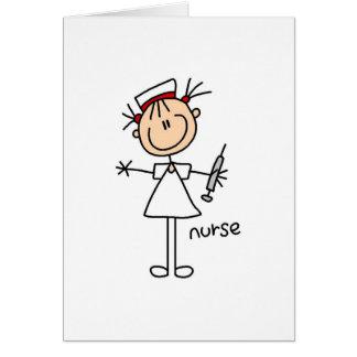 Krankenschwester-Strichmännchen-Karte Grußkarte