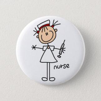 Krankenschwester-Strichmännchen-Knopf Runder Button 5,1 Cm
