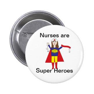 Krankenschwester-Superhelder (brünett) Button