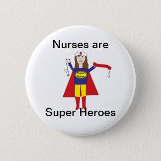 Krankenschwester-Superhelder (brünett) Runder Button 5,1 Cm