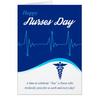 Krankenschwester-Tag mit Cardiogram und Caduceus, Grußkarte