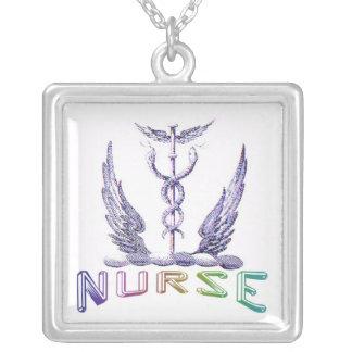Krankenschwestercaduceus-Anhänger Halskette Mit Quadratischem Anhänger