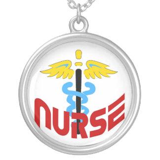 Krankenschwestercaduceus-Emblem-Halskette Halskette Mit Rundem Anhänger