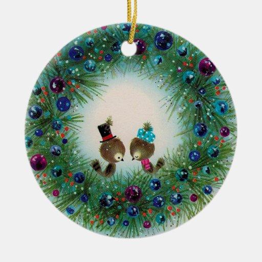 Kranz-und Vogel-Weihnachtsverzierung Ornamente