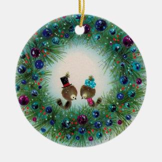 Kranz-und Vogel-Weihnachtsverzierung Rundes Keramik Ornament
