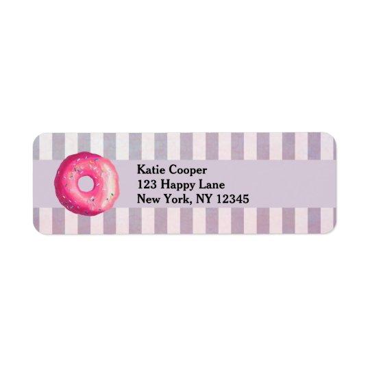 Krapfen mit rosa Zuckergusse und besprüht Rückversand-Adressaufkleber