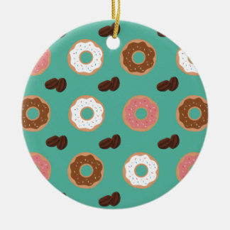 Krapfen und Kaffeebohnen Keramik Ornament