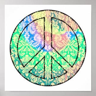 Krawatte gefärbtes Friedenszeichen-Plakat Poster