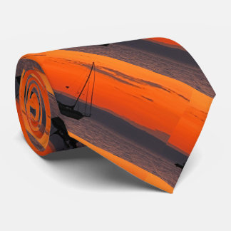 Krawatte, Segelboot am Sonnenuntergang, orange Individuelle Krawatten