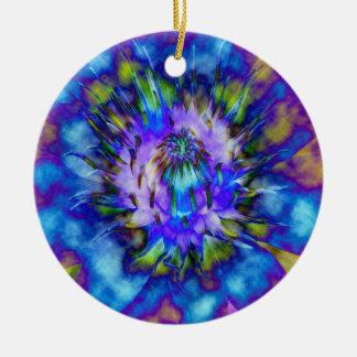 Krawatten-Wasser-Lilien-Entwurf Rundes Keramik Ornament