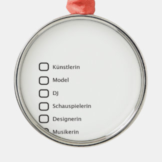 Kreative Hipster Rundes Silberfarbenes Ornament