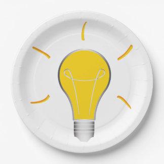 Kreative Idee der Glühlampe Pappteller