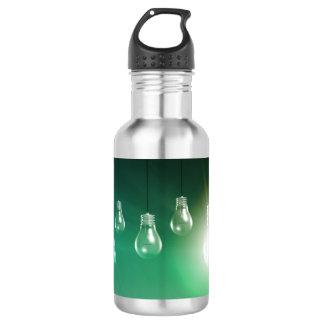Kreative Innovation und glühendes Konzept als Trinkflasche