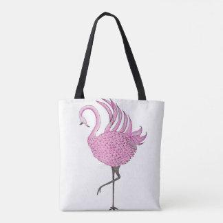 Krebs-Bewusstseins-Bänder und Flamingo Tasche