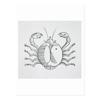 Krebs (die Krabbe) eine Illustration vom Postkarte