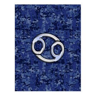 Krebs-Tierkreis-Symbol-Marine-Blau-Digital-Tarnung Postkarte