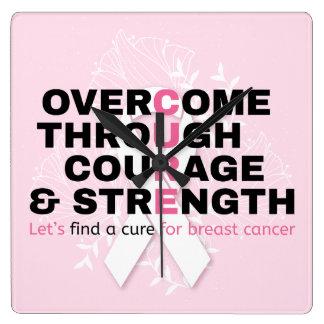 Krebszitat-Rosatypographie ließ uns eine Heilung Quadratische Wanduhr