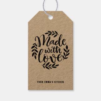 Kreide-Beschriftung gemacht mit Liebe-Braunem Geschenkanhänger