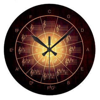 Kreis der braunen Musiker der Fünftel Farb Große Wanduhr