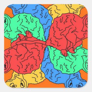 Kreis der Farborange Quadrat-Aufkleber