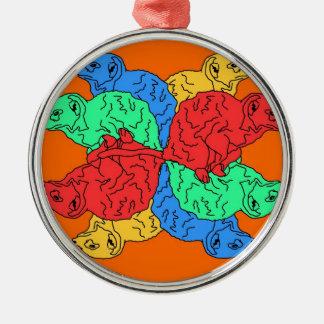 Kreis der Farborange Rundes Silberfarbenes Ornament