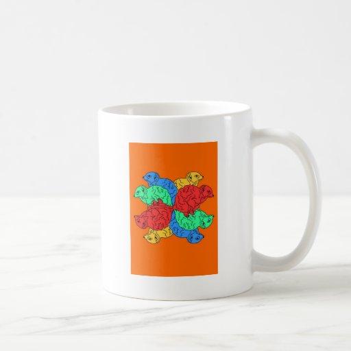 Kreis der Farborange Kaffee Tassen