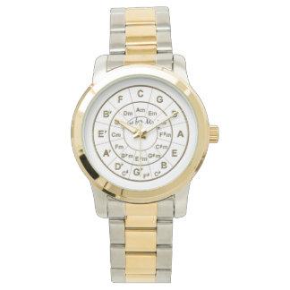 Kreis der Fünftel-Zeit für Musik-Gold Uhr