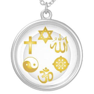 Kreis der goldenen religiösen Symbole Halskette Mit Rundem Anhänger