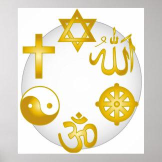 Kreis der goldenen religiösen Symbole Plakatdruck