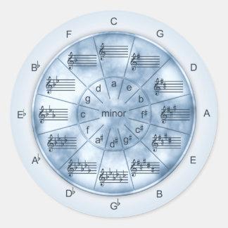 Kreis des Fünftel-blauen Marmors für Musiker Runder Aufkleber