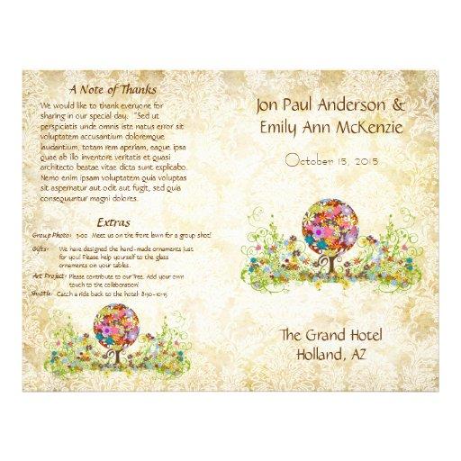 Kreis des Liebe-Blumen-Baum-Hochzeits-Programms 21,6 X 27,9 Cm Flyer