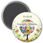 Kreis des Liebe-Blumen-Baum-Save the Date Magneten Runder Magnet 7,6 Cm
