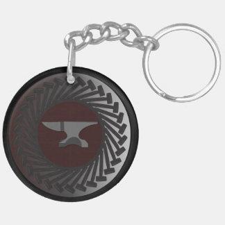 Kreis (doppelseitiges) Keychain - AMBOSS u. HÄMMER Schlüsselanhänger