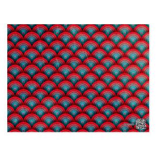 Kreis-Hintergrund-Spiralen-Oberflächen-Rot und Postkarte