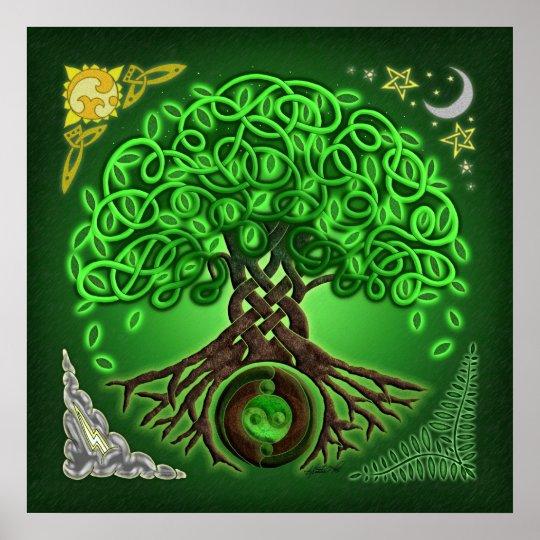 Kreis Keltischer Baum Des Leben Plakat Druckes Poster Zazzlede